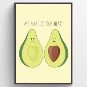 Avocado love - poster väggdekor