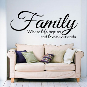 Family where life begins and love never ends väggdekor