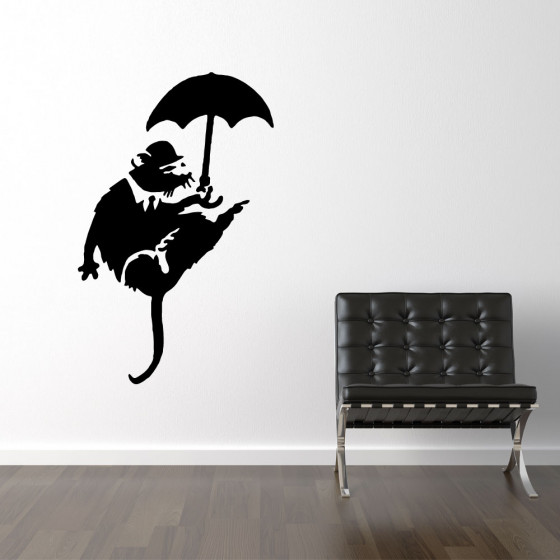 Banksy wallsticker rat umbrella väggdekor