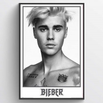 Justin Bieber Black and White Poster