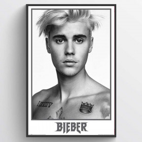 Justin Bieber Black and White Poster väggdekor