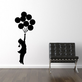 Banksy girl flying ballons väggdekor