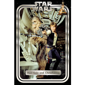 Star Wars Han and Chewie Retro Poster väggdekor
