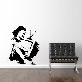 TV girl - Banksy väggdekor